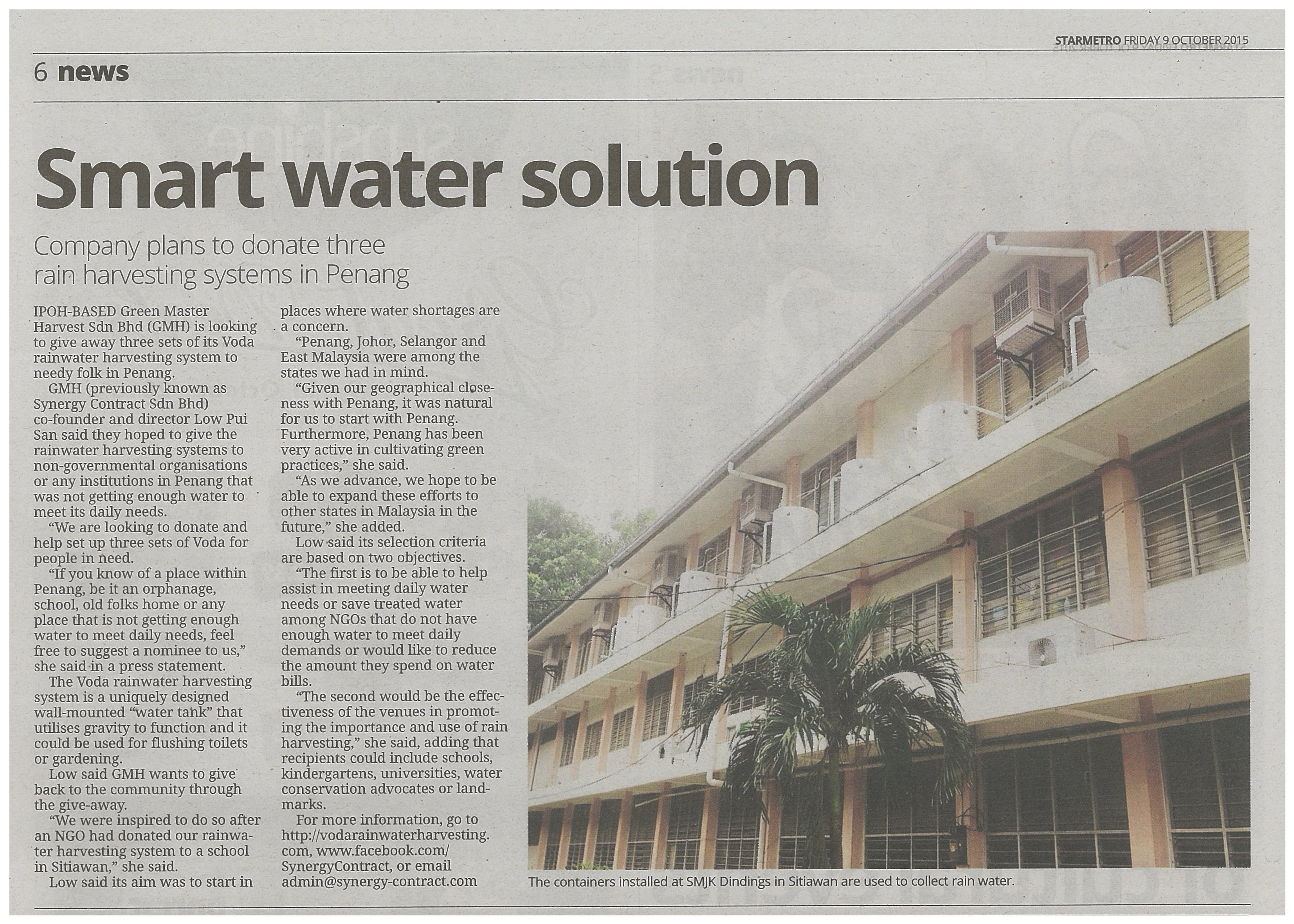 Smart Water Solution - The Star - Voda Rainwater Harvesting System Malaysia